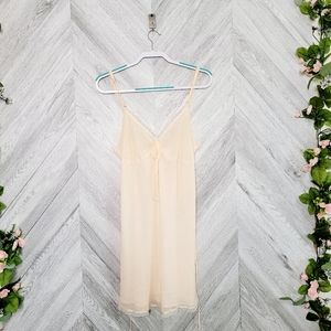 Oscar De La Renta Orange White Lace Trim Gown